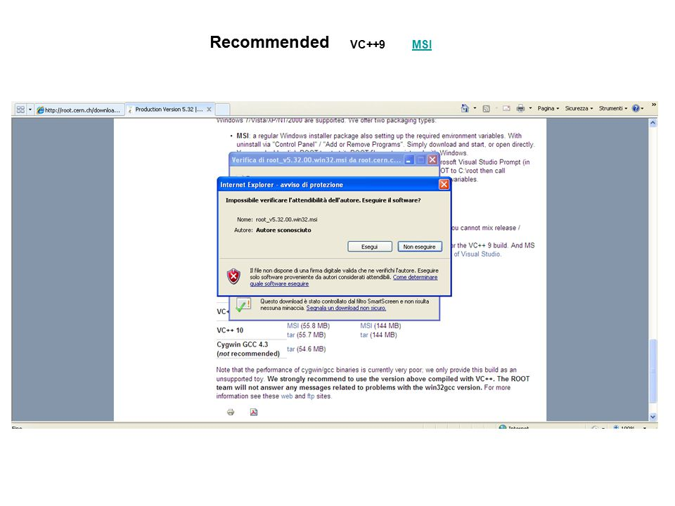 Recommended VC++9 MSI