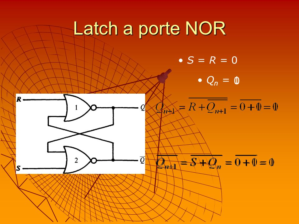 Latch a porte NOR S = R = 0 Qn = 1