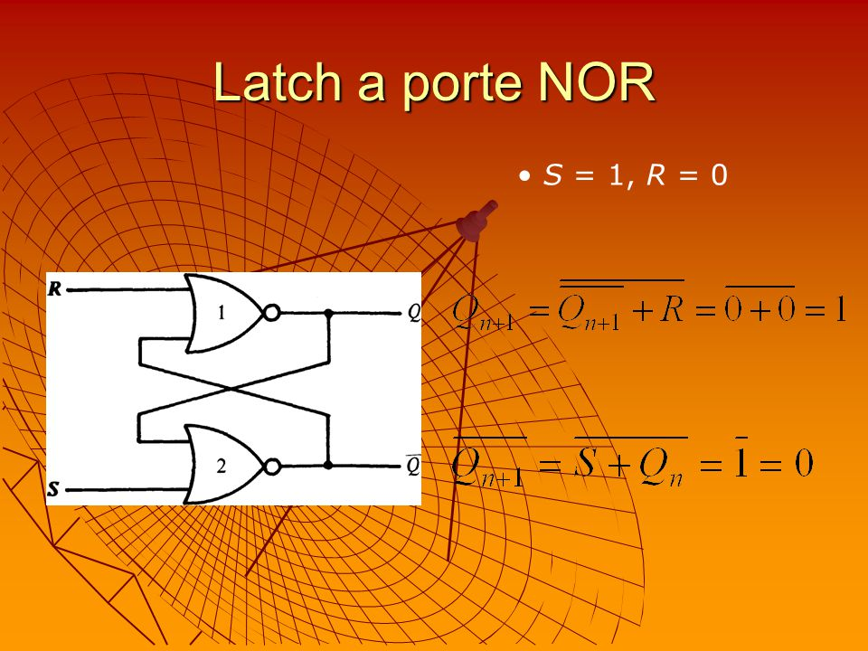 Latch a porte NOR S = 1, R = 0