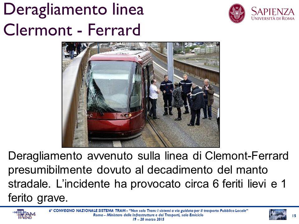 Deragliamento linea Clermont - Ferrard