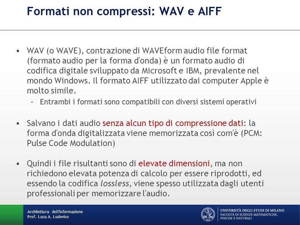 Formati non compressi: WAV e AIFF