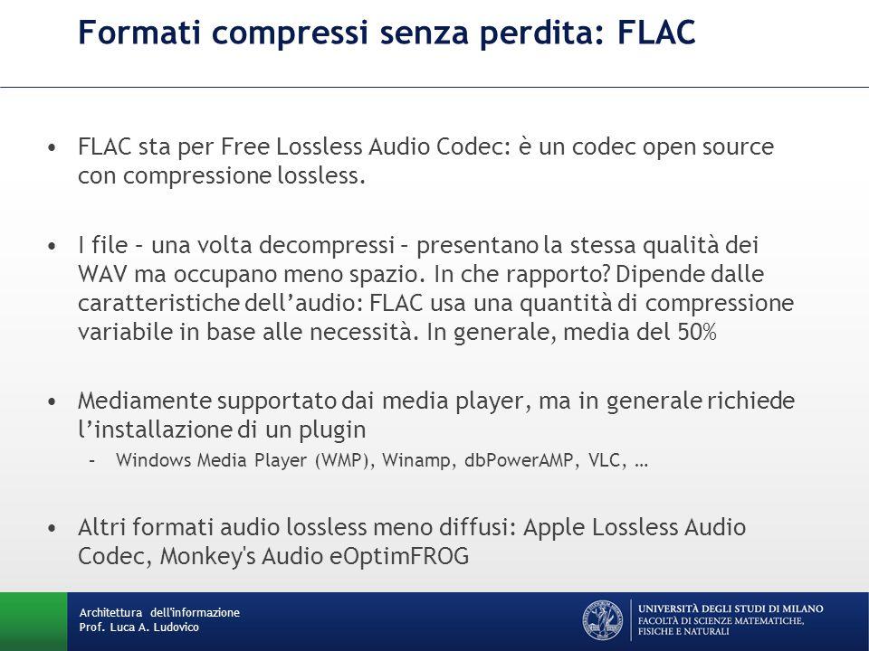 Formati compressi senza perdita: FLAC