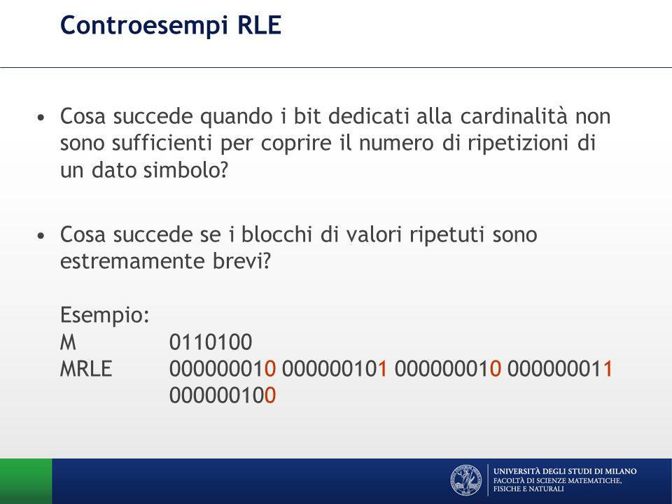 Controesempi RLE Cosa succede quando i bit dedicati alla cardinalità non sono sufficienti per coprire il numero di ripetizioni di un dato simbolo