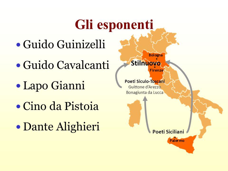 Gli esponenti Guido Guinizelli Guido Cavalcanti Lapo Gianni