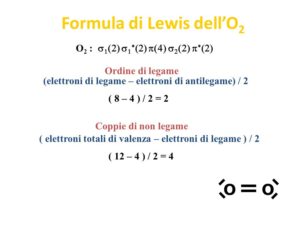 Formula di Lewis dell'O2