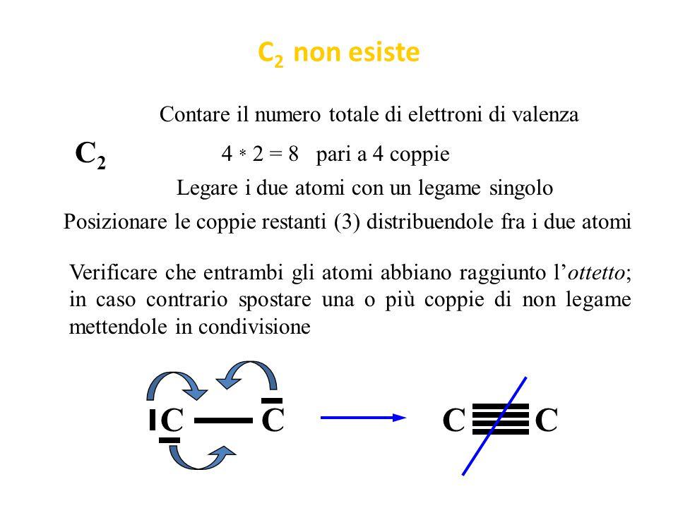 C2 non esiste Contare il numero totale di elettroni di valenza. C2. 4 * 2 = 8 pari a 4 coppie.