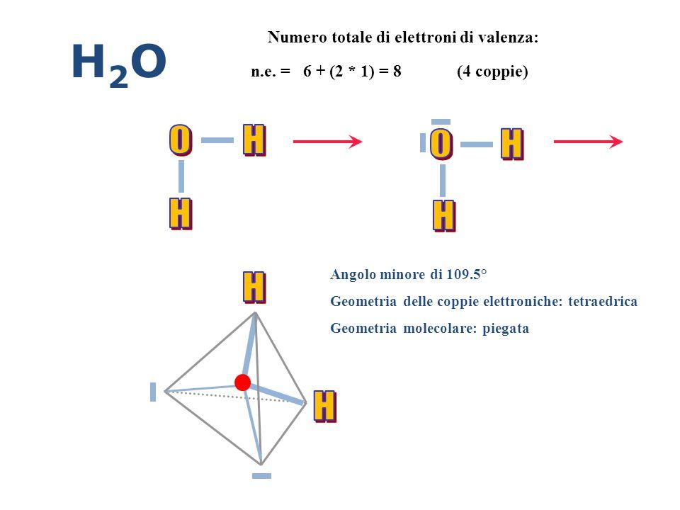 H2O O H O H H H H H Numero totale di elettroni di valenza: