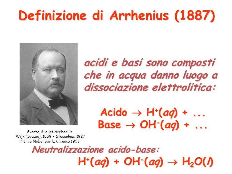 Definizione di Arrhenius (1887)