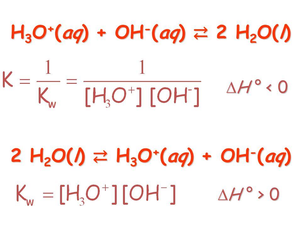 H3O+(aq) + OH-(aq) ⇄ 2 H2O(l) 2 H2O(l) ⇄ H3O+(aq) + OH-(aq)