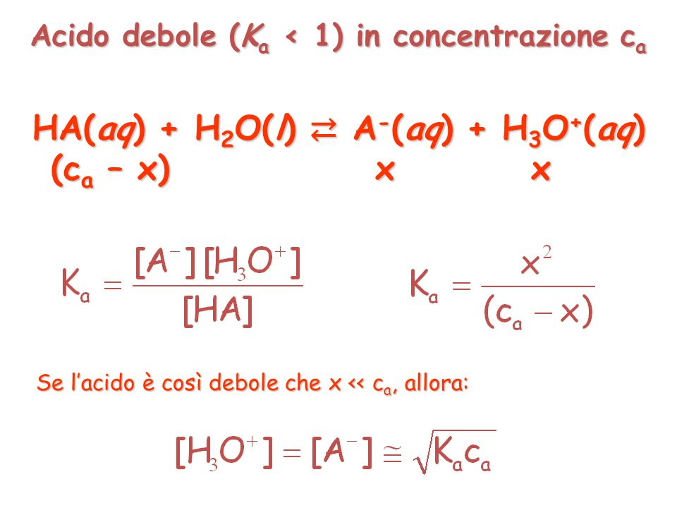 HA(aq) + H2O(l) ⇄ A-(aq) + H3O+(aq)