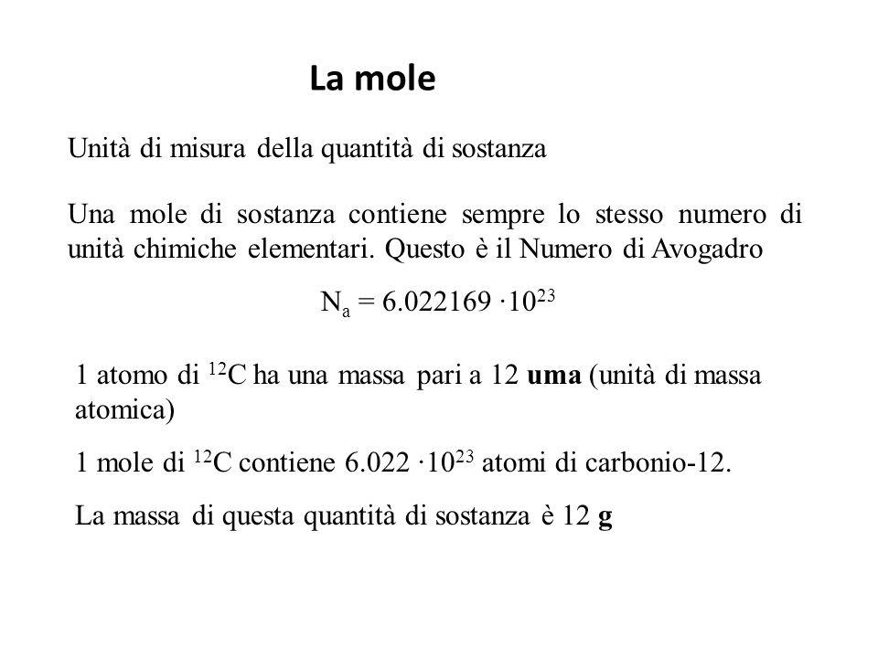 La mole Unità di misura della quantità di sostanza