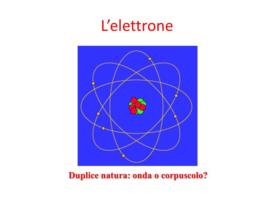 L'elettrone Duplice natura: onda o corpuscolo