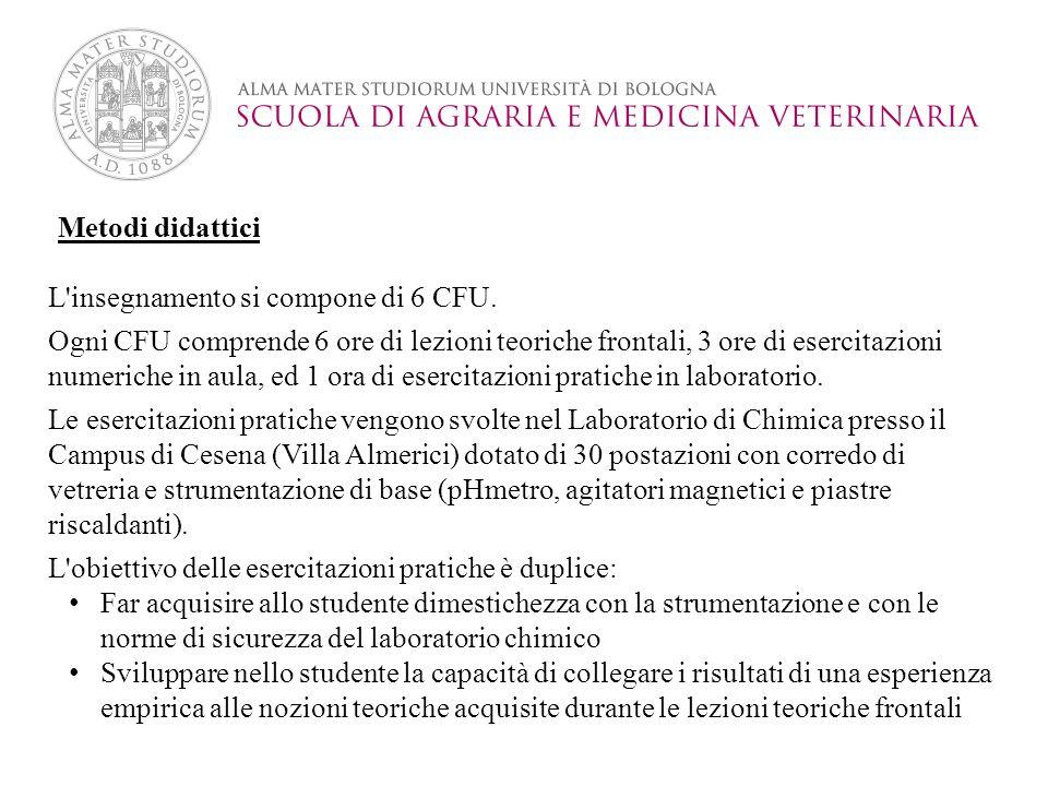 Metodi didattici L insegnamento si compone di 6 CFU.