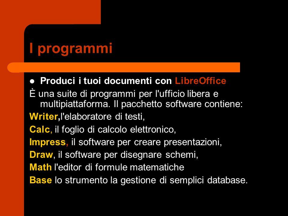 I programmi Produci i tuoi documenti con LibreOffice