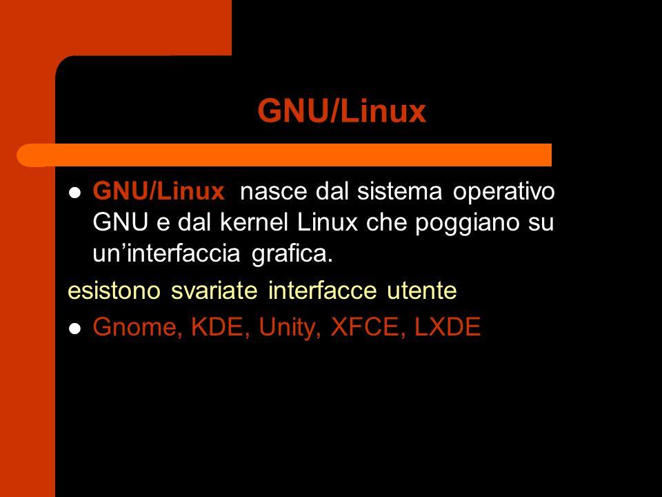 GNU/Linux GNU/Linux nasce dal sistema operativo GNU e dal kernel Linux che poggiano su un'interfaccia grafica.