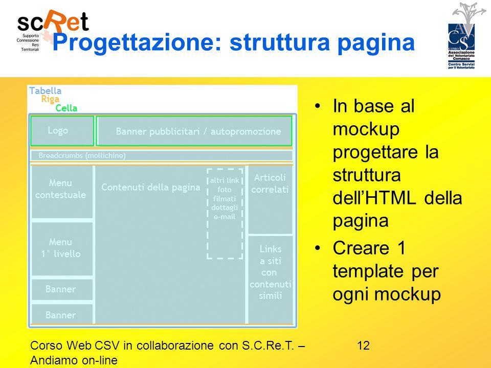 Progettazione: struttura pagina