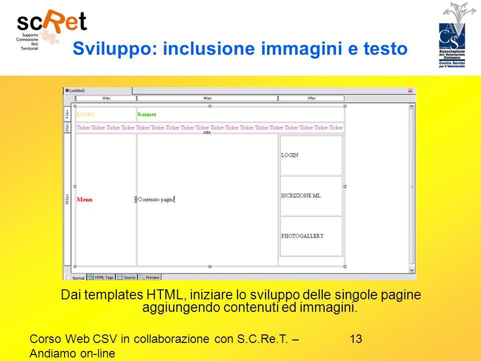 Sviluppo: inclusione immagini e testo