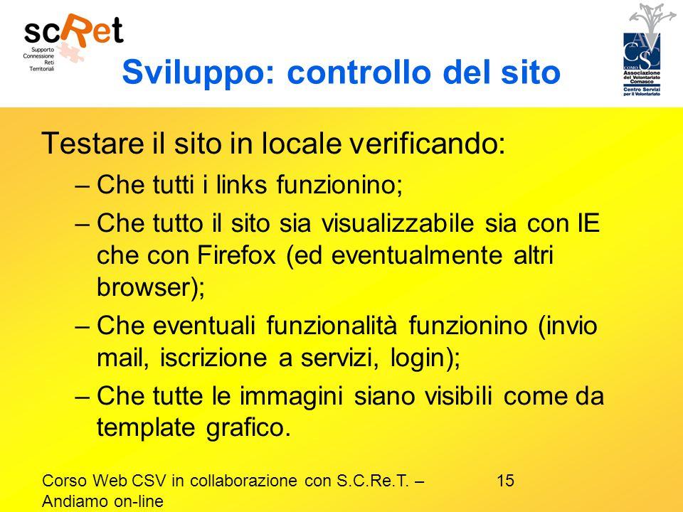 Sviluppo: controllo del sito