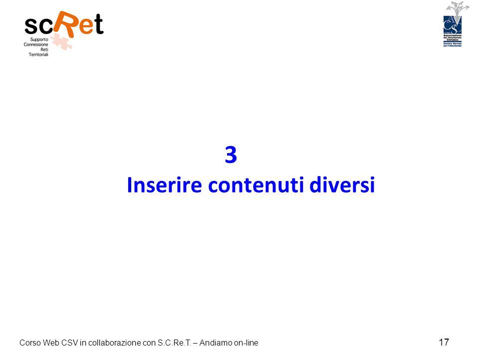 3 Inserire contenuti diversi
