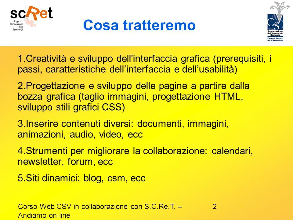 Cosa tratteremo Creatività e sviluppo dell interfaccia grafica (prerequisiti, i passi, caratteristiche dell'interfaccia e dell'usabilità)
