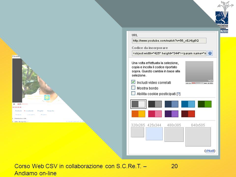 Esempio video Corso Web CSV in collaborazione con S.C.Re.T. – Andiamo on-line