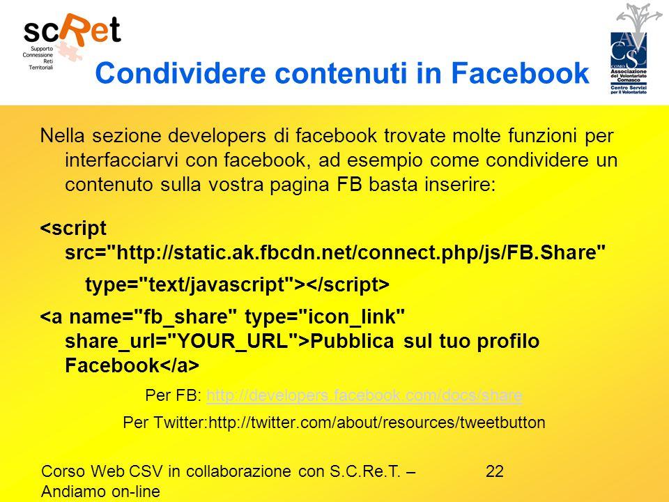Condividere contenuti in Facebook