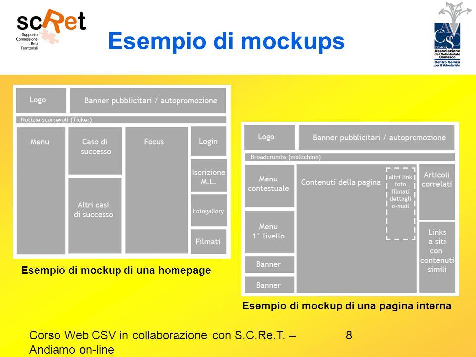 Esempio di mockups Esempio di mockup di una homepage. Esempio di mockup di una pagina interna.