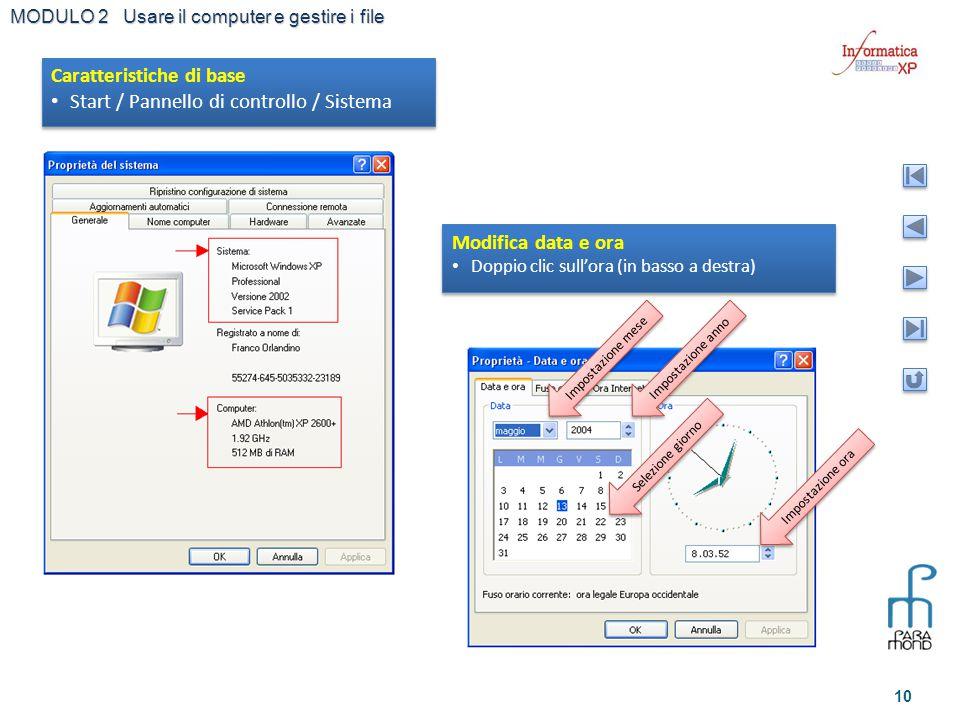 Caratteristiche di base Start / Pannello di controllo / Sistema