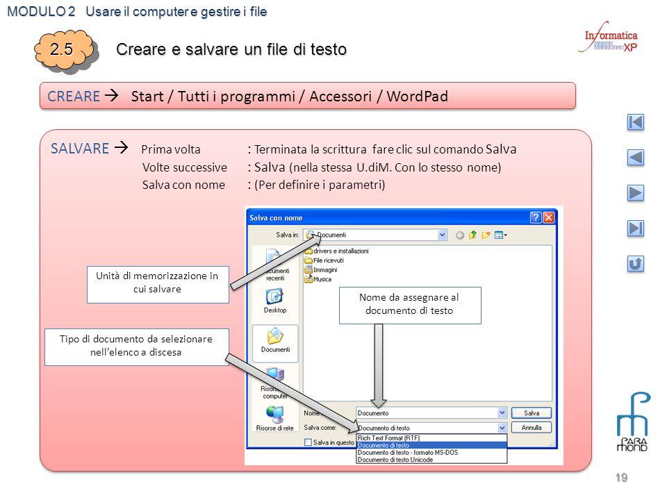 Creare e salvare un file di testo