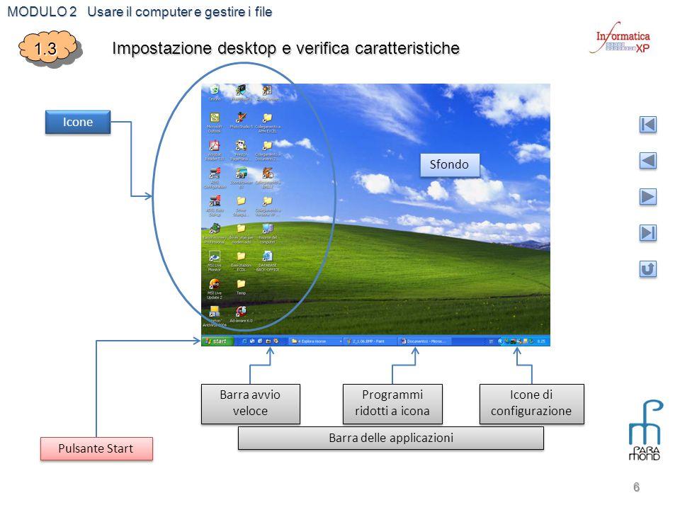 Impostazione desktop e verifica caratteristiche