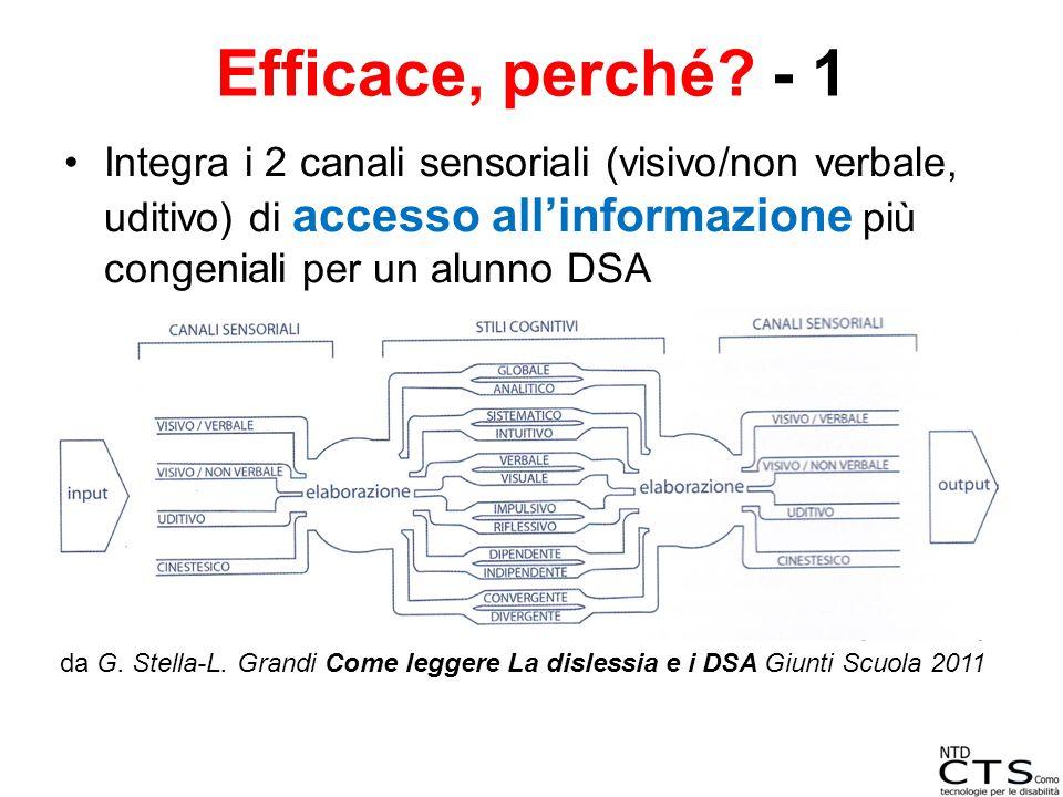 Efficace, perché - 1 Integra i 2 canali sensoriali (visivo/non verbale, uditivo) di accesso all'informazione più congeniali per un alunno DSA.