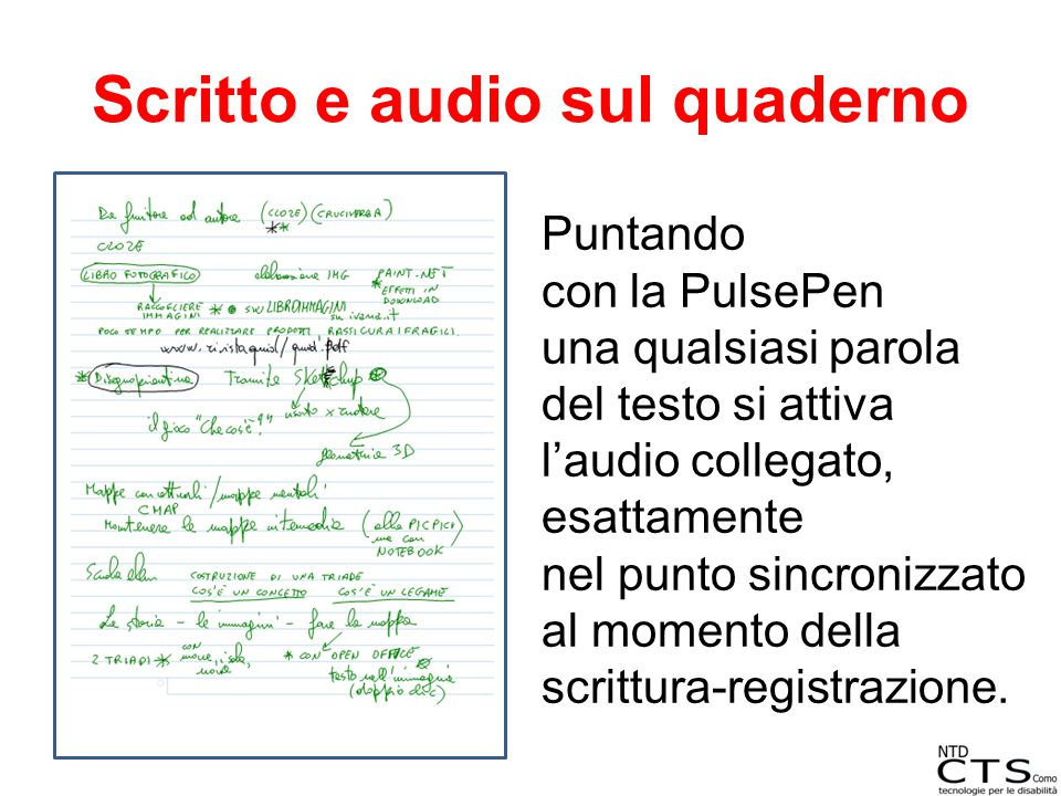 Scritto e audio sul quaderno