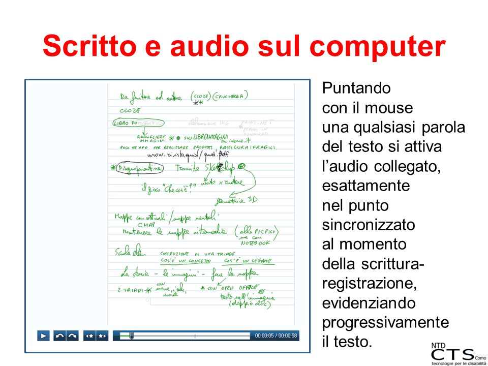 Scritto e audio sul computer