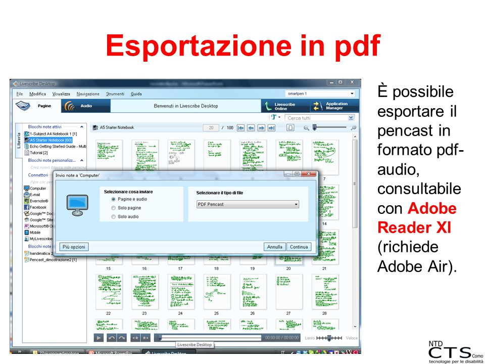 Esportazione in pdf È possibile esportare il pencast in formato pdf-audio, consultabile con Adobe Reader XI (richiede Adobe Air).