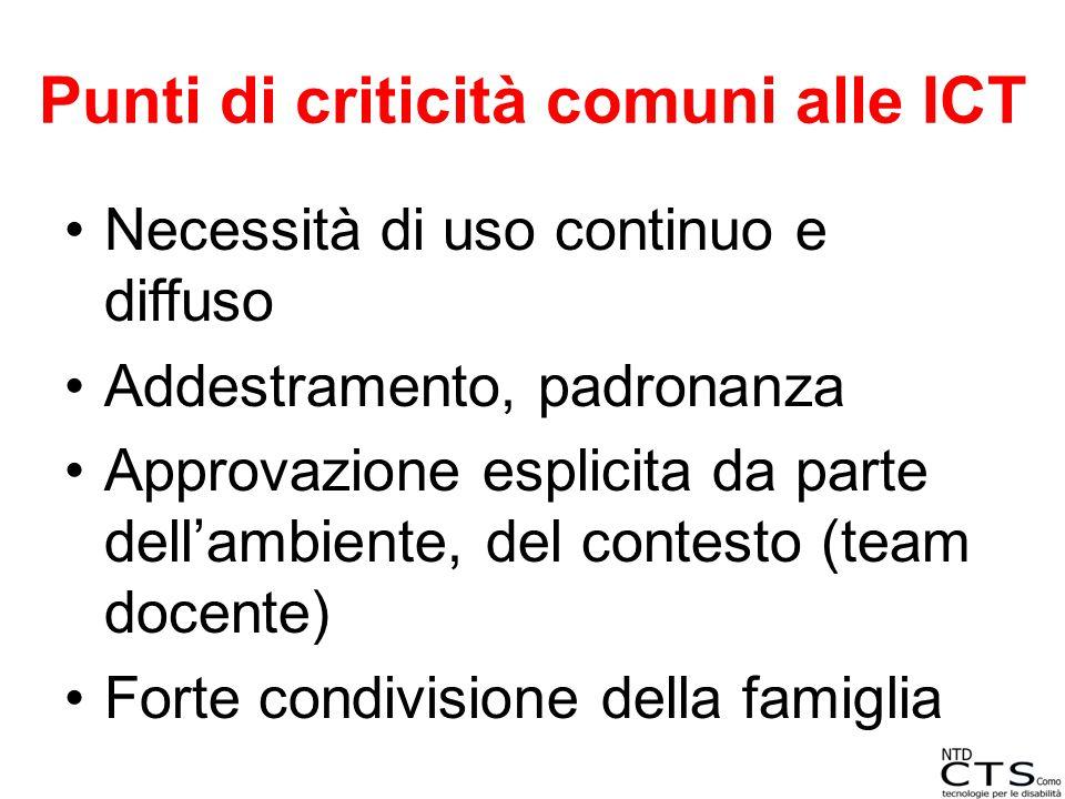 Punti di criticità comuni alle ICT