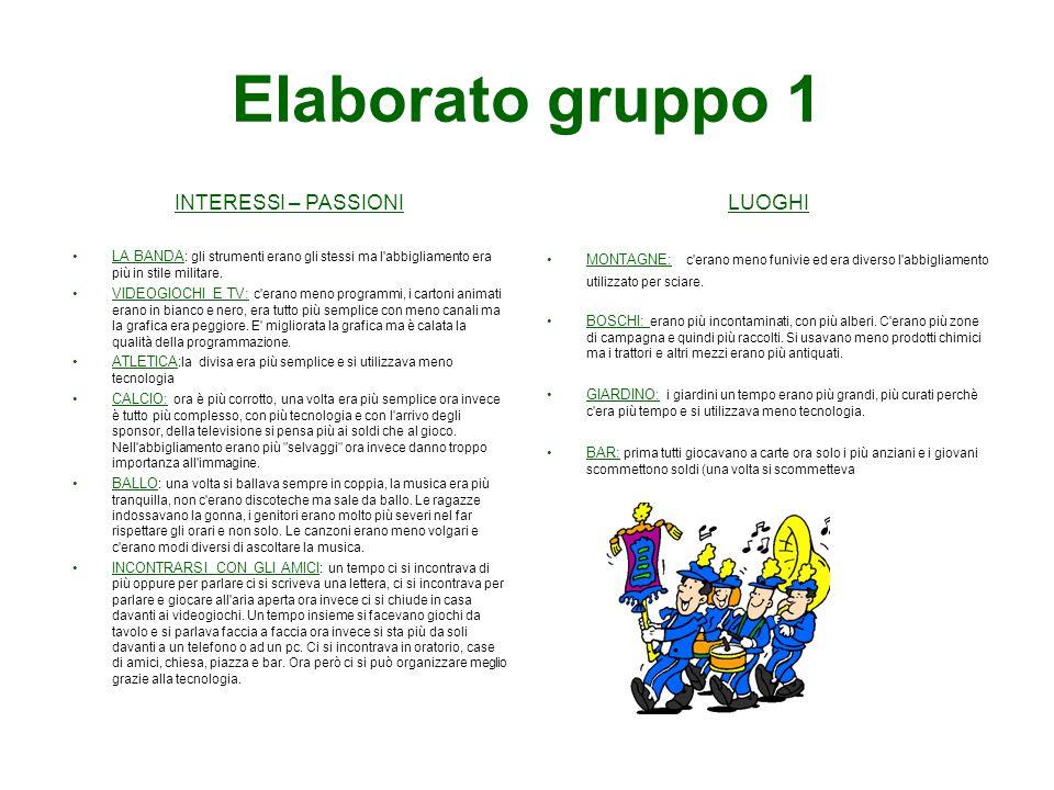 Elaborato gruppo 1 INTERESSI – PASSIONI LUOGHI