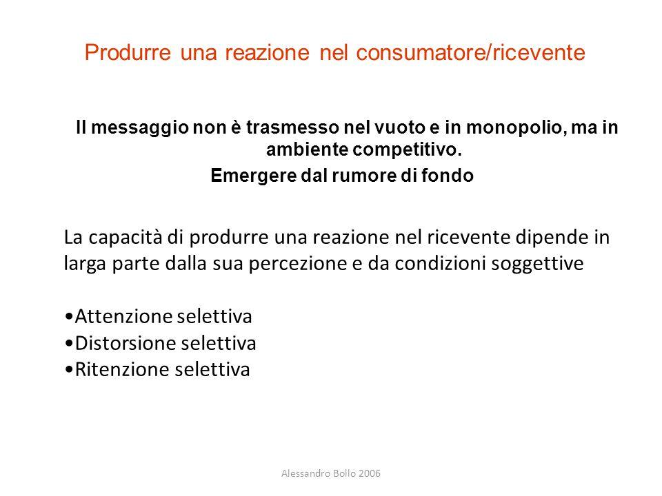 Produrre una reazione nel consumatore/ricevente