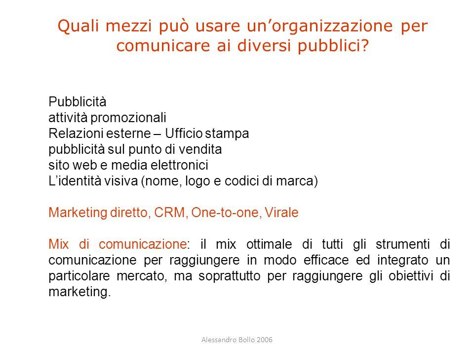 Quali mezzi può usare un'organizzazione per comunicare ai diversi pubblici