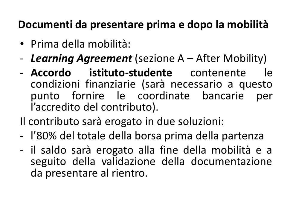 Documenti da presentare prima e dopo la mobilità