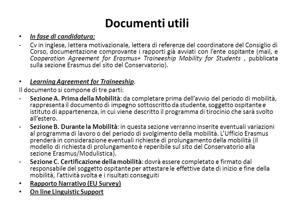 Documenti utili In fase di candidatura:
