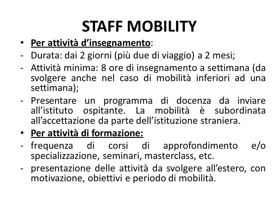STAFF MOBILITY Per attività d'insegnamento: