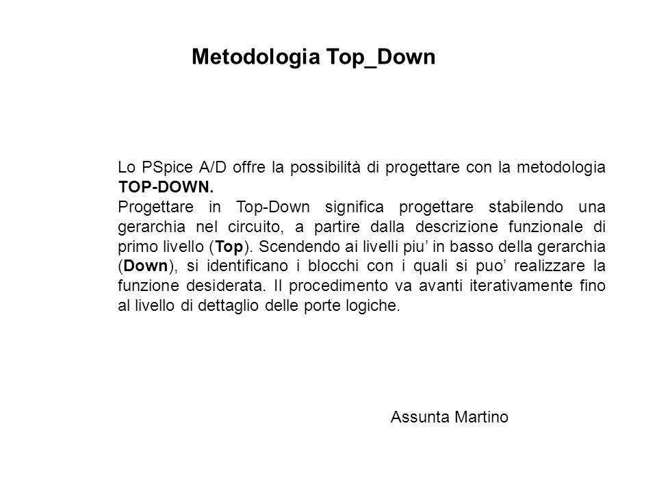 Metodologia Top_Down Lo PSpice A/D offre la possibilità di progettare con la metodologia TOP-DOWN.