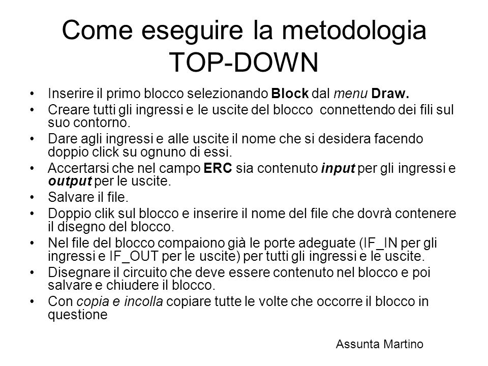 Come eseguire la metodologia TOP-DOWN