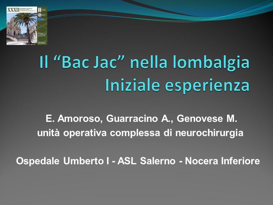 Il Bac Jac nella lombalgia Iniziale esperienza