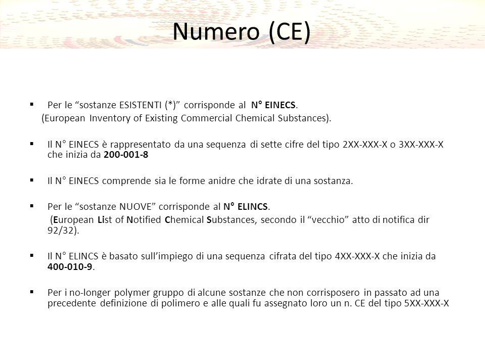 Numero (CE) Per le sostanze ESISTENTI (*) corrisponde al N° EINECS.