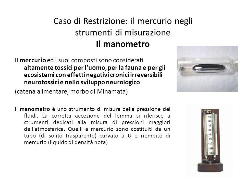 Caso di Restrizione: il mercurio negli strumenti di misurazione Il manometro