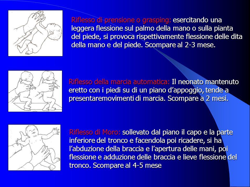 Riflesso di prensione o grasping: esercitando una leggera flessione sul palmo della mano o sulla pianta del piede, si provoca rispettivamente flessione delle dita della mano e del piede. Scompare al 2-3 mese.