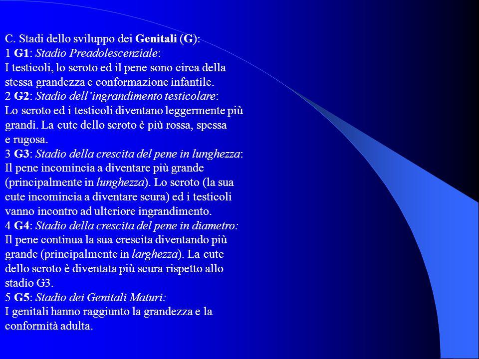 C. Stadi dello sviluppo dei Genitali (G):