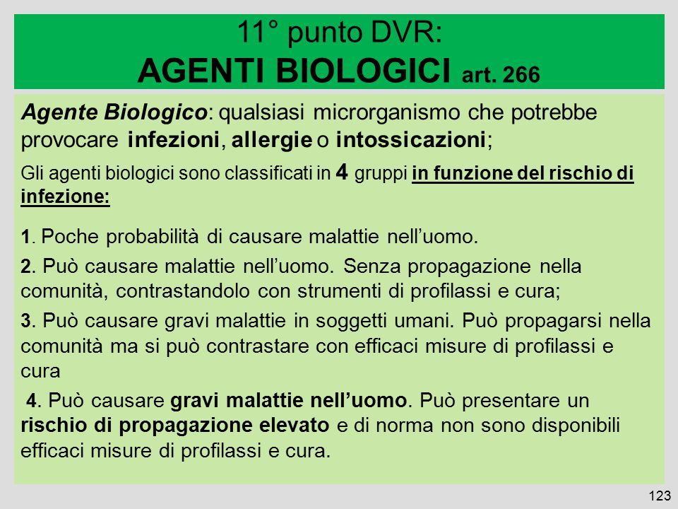 AGENTI BIOLOGICI art. 266 11° punto DVR: