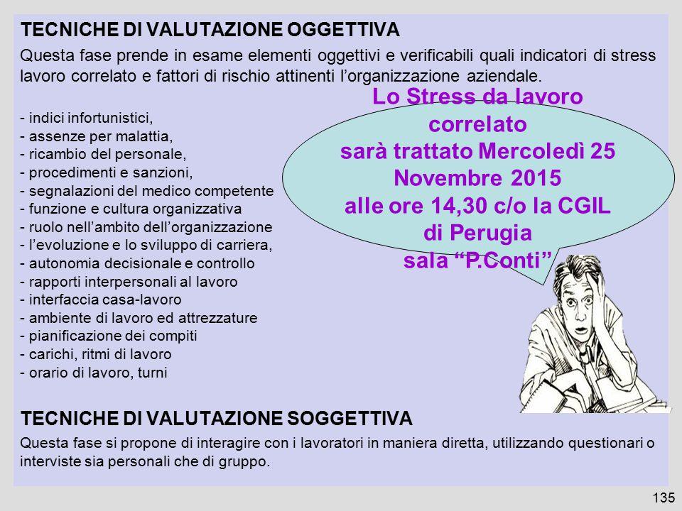 Lo Stress da lavoro correlato sarà trattato Mercoledì 25 Novembre 2015